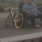 I wonder where the old guy stores his cane on this blinged-out fixie?