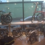 Brompton folding bicycles on display at Clever Cycles in Portland